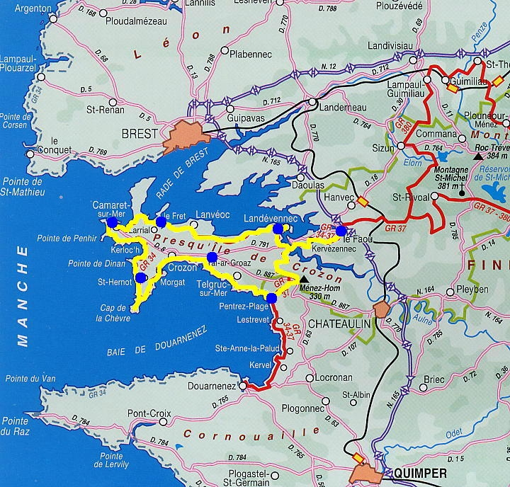Carte Bretagne Presquile De Crozon.Gr34 Bretagne Crozon Trek